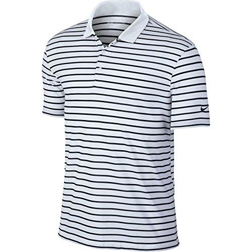 Nike Icon Stripe Golf Polo 2016 White/Black Large - Nike Dri Fit Polo