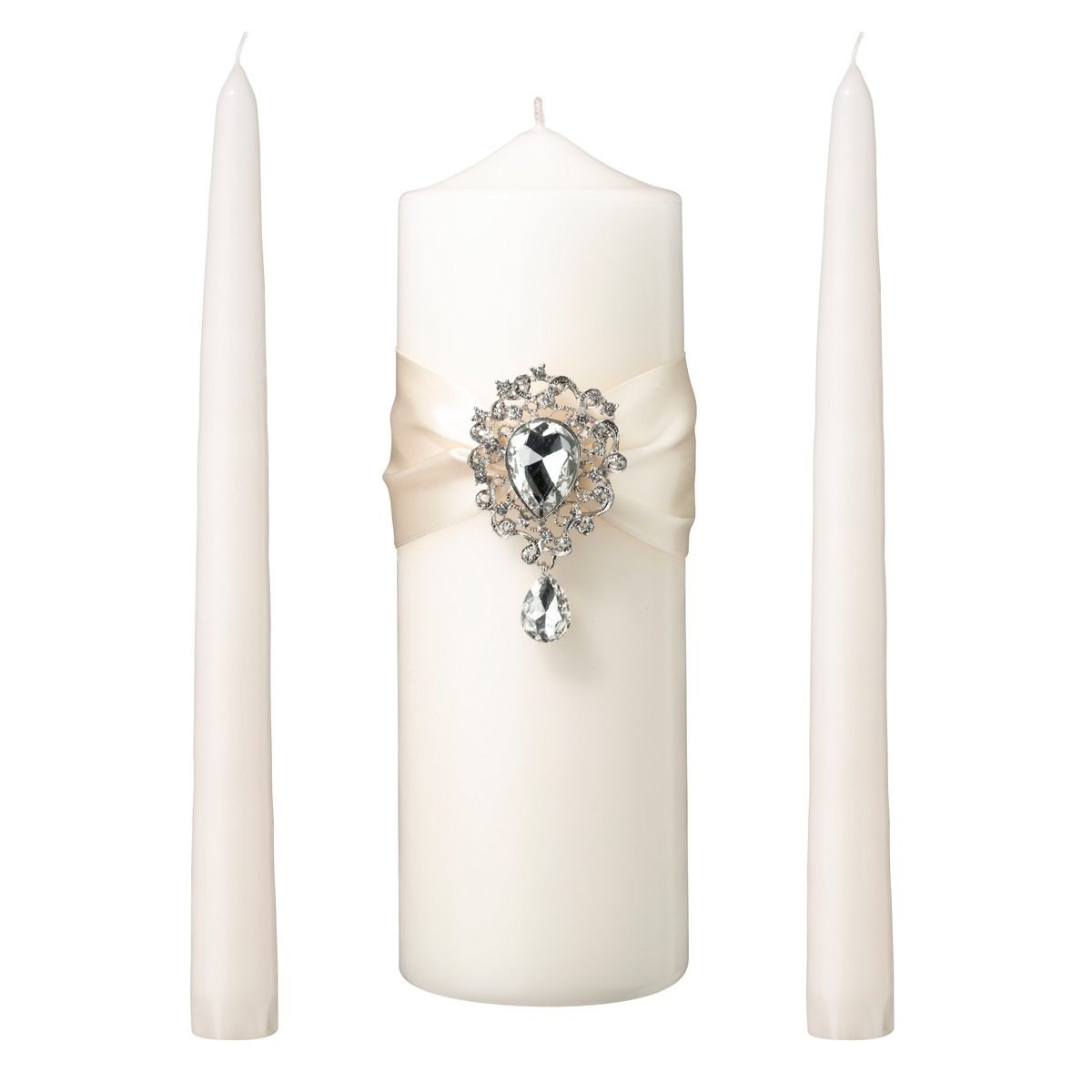 Lillian Rose AZ100001 I Jeweled Unity Candle Wedding Ceremony Set, Ivory