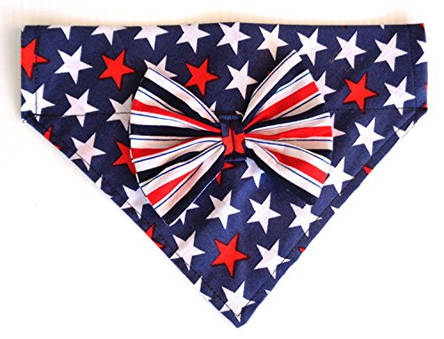 2 in 1 Bandana and Bow, Patriotic Red White and Blue Stars Petwear Neckwear Accessories, Over the Collar Slip Through Thread Thru pet (Blue Neckwear)