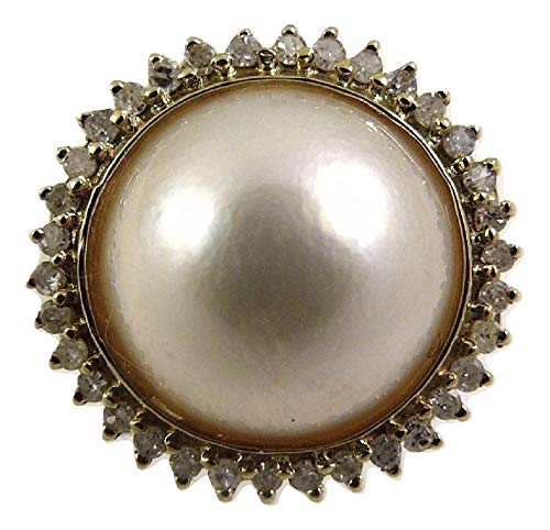 - Vics Fine Jewelry Mabe White Pearl Ring 14k Yellow Gold and Diamonds