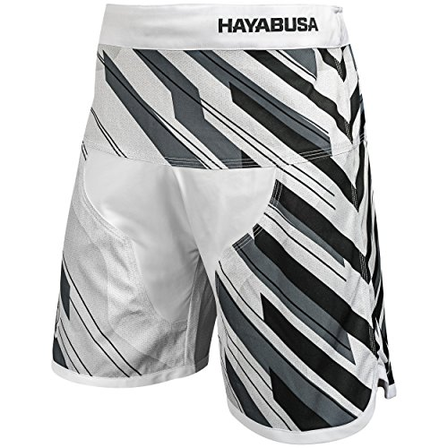Hayabusa Metaru Charged Brazilian Jiu Jitsu and MMA Shorts (White/Grey, - Fight Mma White Shorts