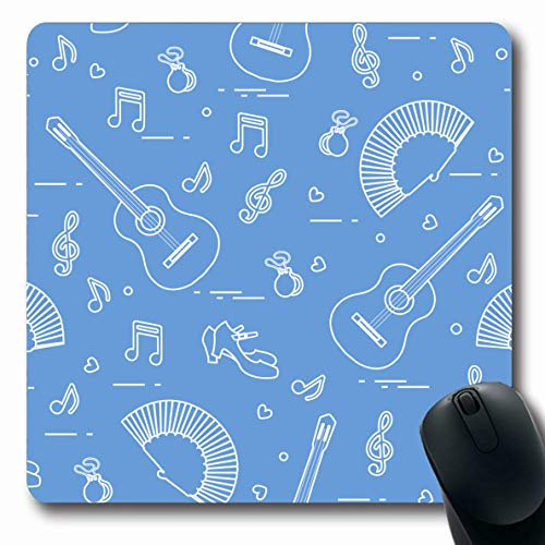 Ahawoso Mousepads for Computers Instrument Choreography Fan Shoes Castanets Notes Attributes Training Classical Clef Click Concert Oblong Shape 7.9 x 9.5 Inches Non-Slip Oblong Gaming Mouse Pad