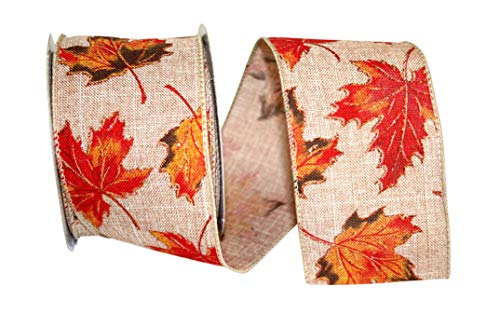 Reliant Ribbon 92809W-085-40F Autumn Leaves Linen Wired Edge Ribbon, 2-1/2 Inch X 10 Yards, Copper