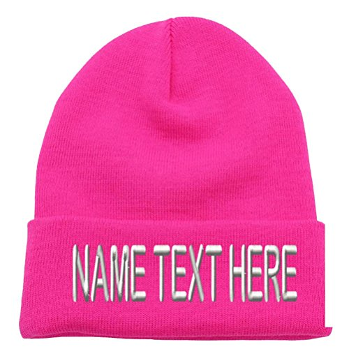 (Caprobot ID Custom Embroidery Personalized Name Text Ski Toboggan Knit Cap Cuffed Beanie Hat - Hot Pink ...)