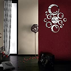 Greensun(TM) Creative DIY Acrylic Mirror Wall Clock - Removable 3D Mirror Circles Wall Decal Wall Sticker Home Decoration (Silver)