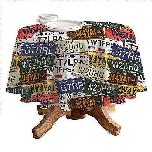 USA Round Polyester Tablecloth,Retro American Auto License Plates Utah Washington Rhode Island North Carolina Print,Dining Room Kitchen Round Table Cover,60
