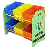 Bebe Style Kid's Toy Storage Organizer with 6 Bins, Crayon Themed