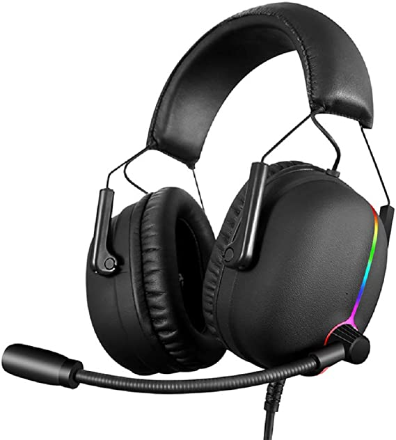 Xiaokeai Headsets with Built-in Mic Headset Gaming Headset USB7.1 Channel LED Breathing Light with Microphone Gaming Headset Black