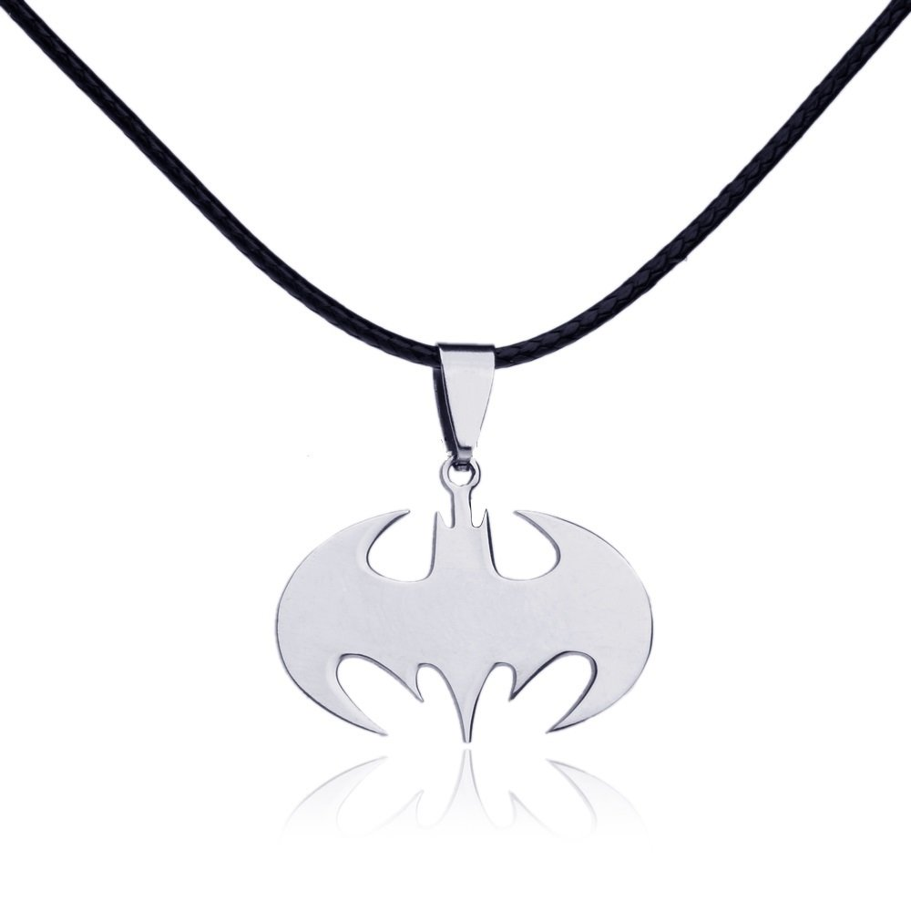 Dastan Stainless Steel Necklace Batman Pendant on Beaded Chain