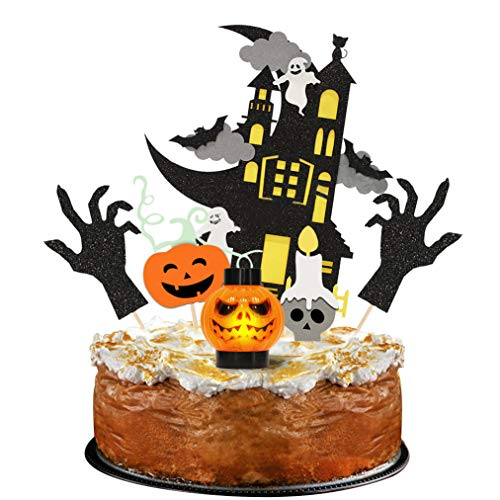 Cake Decorations For Halloween (Palksky Set of 6 Halloween Cake Topper - Haunted House/Ghost hand/Wizard/Pumpkin light cake decoration for Halloween party)