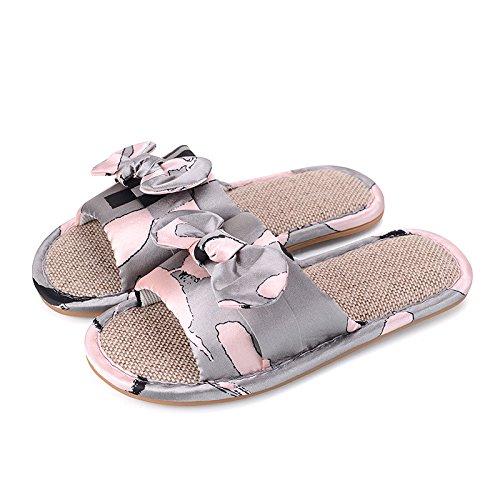 Tendon JIA Pink 41 42 Grey 41 Lin Couple Tissu Nouveau Antidérapant 42 Pantoufle Maison Intérieur HONG Bow Pantoufle Slip Femme Slipper YUxrqYaw