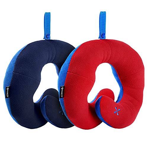 BCOZZY Chin Supporting Travel Neck Pillow - Supports The Head, Neck & Chin in Any Sitting Position. A Patented Product. Set of 2. Adult Size, Navy+RED
