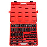 Sunex 3580, 3/8 Inch Drive Master Impact Socket Set, 80 Piece, SAE/Metric, 5/16 Inch - 3/4 Inch, 8mm - 19mm, Standard/Deep/Universal, Cr-Mo, Radius Corner, Chamfered Opening, Dual Size Markings, Heavy Duty Storage Case, Includes Star and Inverted Star Sockets, 4 Extensions, Universal Joint