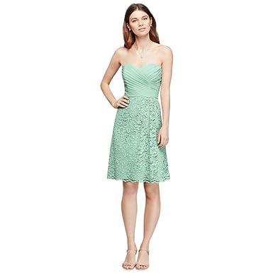 7fab686816b3 David's Bridal Short Sweetheart Neckline Bridesmaid Dress Style F19217,  Mint, ...