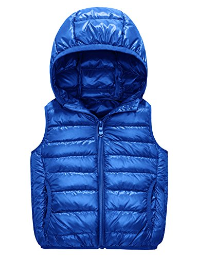 IKALI Boys & Girls Ultra Light Down Packable vest, sleeveless Outerwear Compact Windproof vest jacket with Hood and Pockets (6-8Y, Royal-Blue)