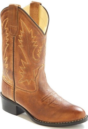Old West Girls' Corona Calfskin Cowboy Boot Round Toe Tan 4 D(M) US Childrens Round Toe Boot