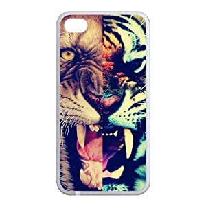 Lion and Tiger Roaring Personalized Design Cool Setro Style Fashion Custom Luxury Cover Case For Iphone 5 and 5S(White) with Best Plastic@ALL