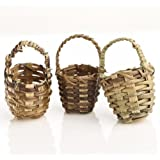 Group of 12 Adorable Hand Woven Round Ultra Miniature Baskets with Handles