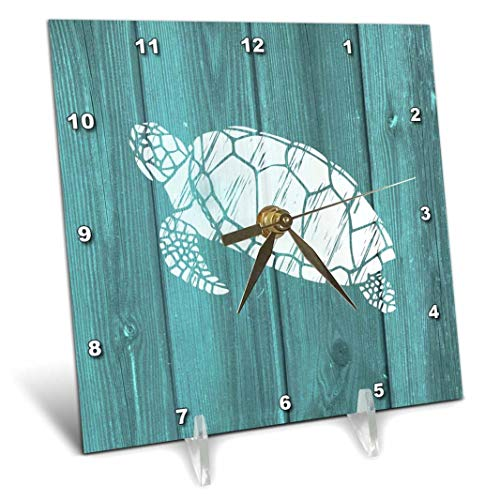 3dRose Turtle Stencil in White Over Teal Weatherboard- Not Real Wood - Desk Clock, 6 by 6-Inch - Sea Clock Turtle