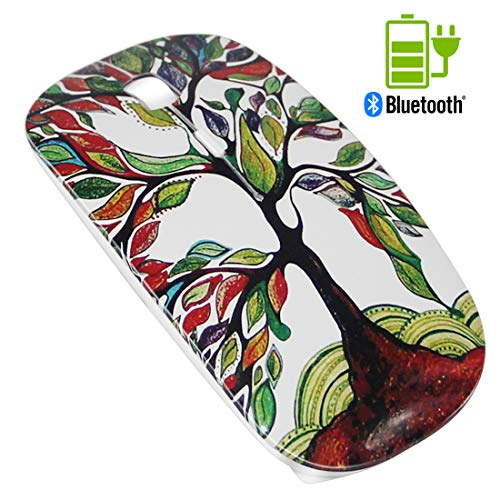 (Quiet Rechargeable Bluetooth Mouse White - Tsmine Wireless Mouse Portable Optical Mouse Noiseless Mice for MacBook,Notebook,Laptop,PC,Tablet(Not for iPad and iPhone) - Lucky Tree)