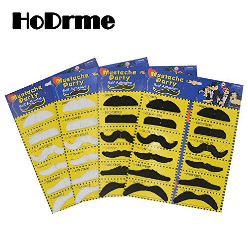 HoDrme 48 Pieces Fake Mustache, Self Adhesive Novelty Mustache for Halloween Christmas Costume Party Cosplay -