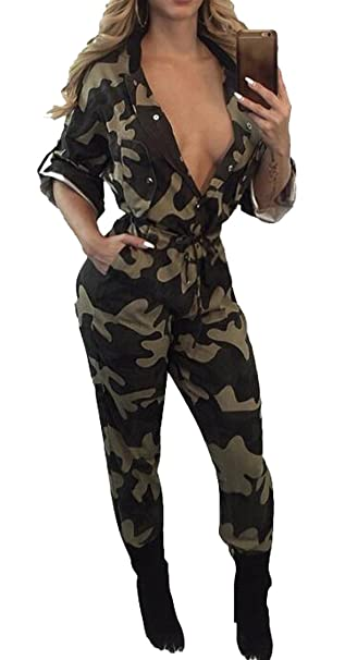 f688e0257c93 Oberora-Women Military Camo Drawstring Roll up Long Sleeve Jumpsuits  Rompers Camouflage XS