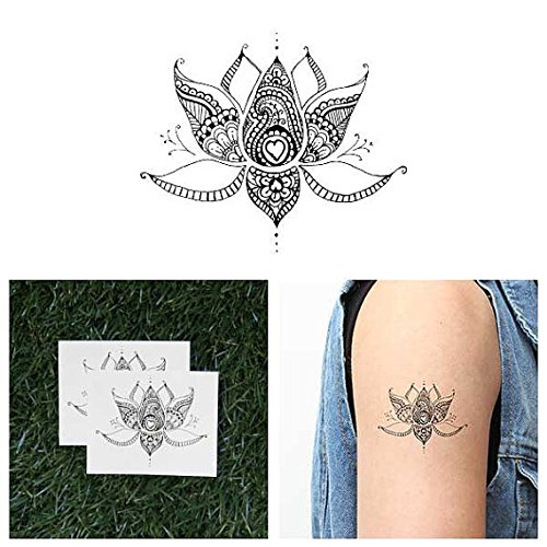 Tattify Lotus Flower With Hearts Temporary Tattoo Sacred Lotus