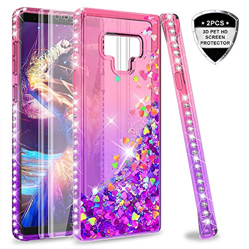 Note 9 Glitter Case with 3D PET Screen Protector [2 Pack] for Girls Women,LeYi Bling Liquid Quicksand TPU Protective Phone Case for Samsung Galaxy Note 9 Note9 (Pink/Purple)