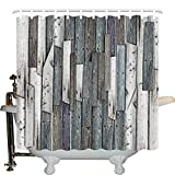Wooden Shower Curtain Set by JLBB, Blue Grey Grunge Rustic Planks Barn House Wood and Nails Lodge Hardwood Graphic Print, Fabric Bathroom Decor with Hooks, 66X72 Inches, Teal Purple Grey