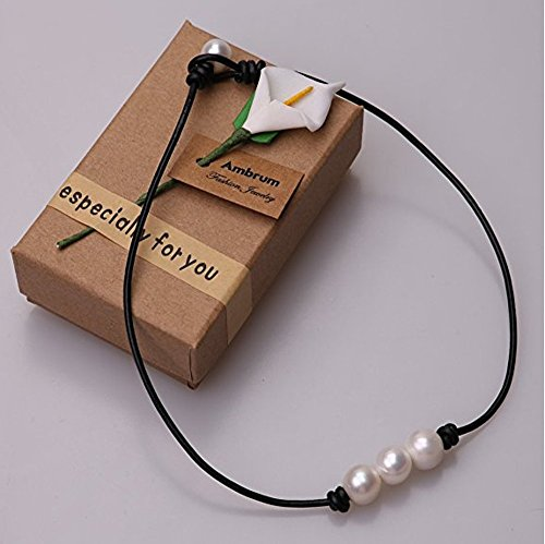 Aphaca Freshwater Pearl Choker Leather Necklace for Women Rope Necklace Jewelry Handmade (2 pcs Necklace) by Aphaca (Image #2)