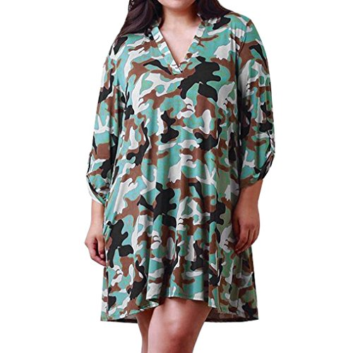 Fashion Plus Size Autumn Women Camouflage Long Sleeve V-Neck Casual Dress (Pink Camo Dress)