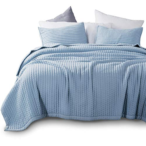 Kasentex Quilt Mini Set - Stone Washed - Super Soft Bedspread - Light Weight - Hypoallergenic - White Down Alternative Microfiber Fill - Machine Washable - Solid Colors, Twin + 2 Shams, Blue