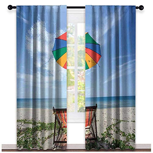 hengshu Seaside, Curtains Bedroom, Pair of Chairs and Colorful Umbrella on The Beach Seaside Holiday Travel Image, Curtains Kitchen Window, W96 x L96 Inch Multicolor