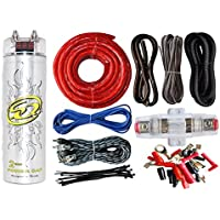 0 Gauge Amp Kit Amplifier Install Wiring & 2 Farad Digital Capacitor, 3000W Peak