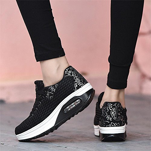 Kemosen Shoes Casual Ladies Running Platform Breathable Walking Sneakers Black Women's Trainers Comfortable Wedges Shoes Lightweight ZHrwUS01qZ