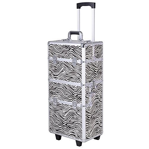 3 in 1 Pro Aluminum Rolling Makeup Case Salon Cosmetic Organizer Trolley - Zebra By Allgoodsdelight365 by allgoodsdelight365