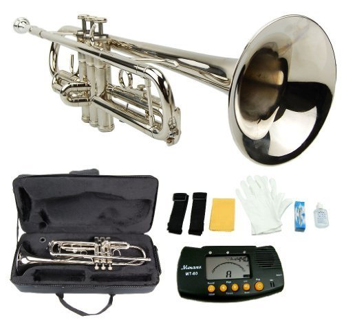 MERANO NICKEL PLATED TRUMPET WITH CASE + FREE METRO TUNER by Merano