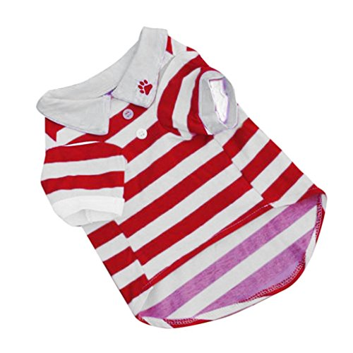 Sumen New Cute Small Pet Stripe T-Shirt Cotton Puppy Dog Clothes (L, Red)