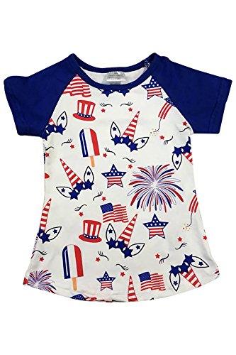 Little Girl Kids Unicorn Firework Flag Stars Cotton Shirt Top Tee T-Shirt Royal 6 XL (501363)