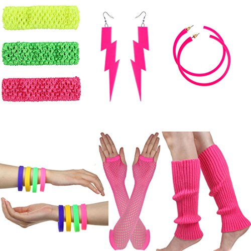 Women's 80s Costume Long Fishnet Gloves Neon Earrings Beads Leg Warmers Stripes Stockings (80's Dance Costumes)