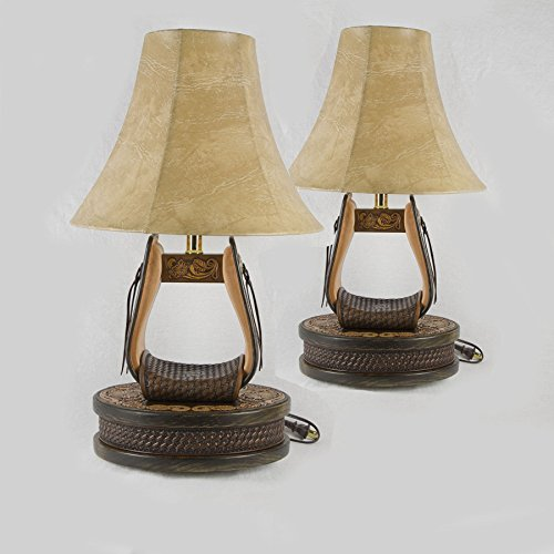 Hand Tooled Leather Stirrup Lamps ( 1 Pair) with Wooden Base and Inlayed Leather Stamped Strap (SLSP001) (Acorn Lamp Base)