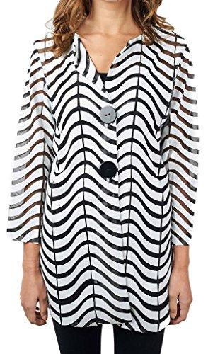 Joseph Ribkoff Black & White Semi-Sheer Zig Zag Striped Jacket Style 171816 - Size 16 by Joseph Ribkoff