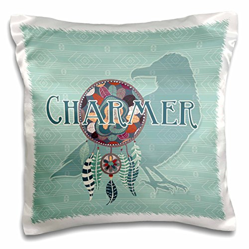 3dRose Raven Crow Native American Animal Spirit with Dream Catcher Charmer Pillow Case, 16 x 16'' by 3dRose