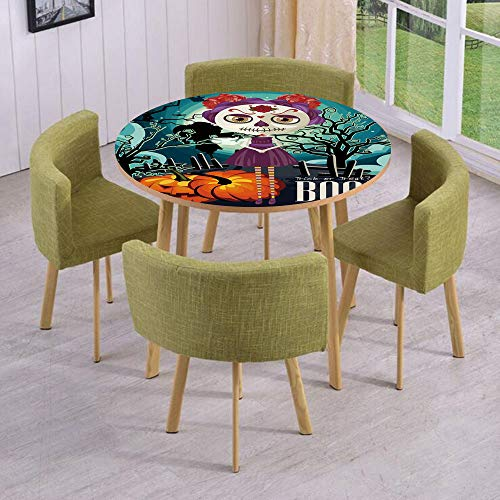 (iPrint Round Table/Wall/Floor Decal Strikers/Removable/Cartoon Girl with Sugar Skull Makeup Retro Seasonal Artwork Swirled Trees Boo Decorative/for Living Room/Kitchens/Office)