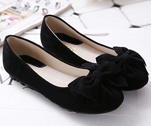 Minetom Damen Süßen Stil Schuhe Runde Zehe Erbsen Schuhe Solide Farbe Weiche Sohle Ballett Flache Schuhe Schwarz