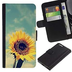 KLONGSHOP // Tirón de la caja Cartera de cuero con ranuras para tarjetas - Verano Caliente Vignette Amarillo - Apple Iphone 6 PLUS 5.5 //