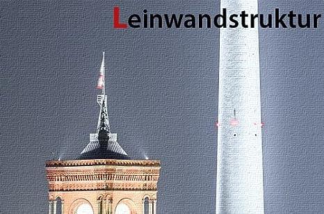 Leinwand Bild Berlin Mitte Alex Alexanderplatz Fernsehturm Rathaus Nacht Lichter