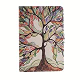 Galaxy Tab S2 T715 Case, [Kickstand Feature][Card Slot][ Auto Sleep/Wake Feature][Magnetic Buckle] Premium PU Leather Wallet Flip Case For Samsung Galaxy Tab S2 Tablet T715(8.0 inch) (life tree)