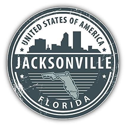 Jacksonville Florida Usa Grunge Rubber Travel Stamp  Bumper Sticker Wall Decals & Stickers 3'' or 5''