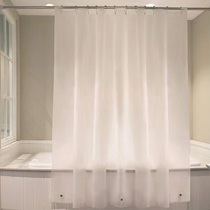 Eforgift Cortina De Ducha Con Cubeta 3d Resistente Al Agua Sin Moho Para Baño Moderno Semi Transparente 72wx78l 1
